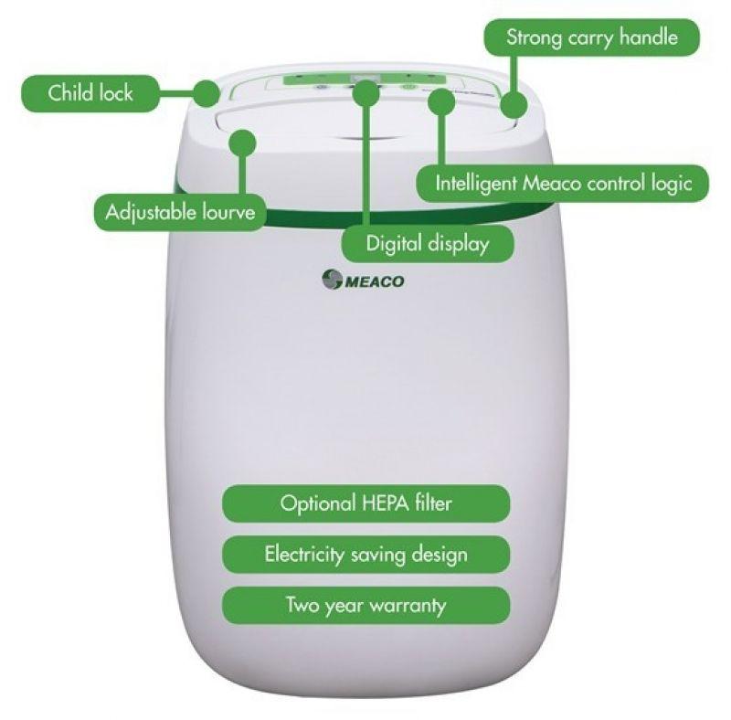 Dezumidificator si purificator cu consum redus de energie Meaco UK12L, 100 mc/ h, Pentru 30mp, Higrostat, Timer, Blocare copii
