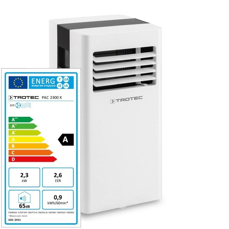 Aer conditionat portabil Trotec PAC 2300 X, Capacitate 8.000 Btu, Debit 310mc/ora, Telecomanda, Display, Timer, Pentru 75mc