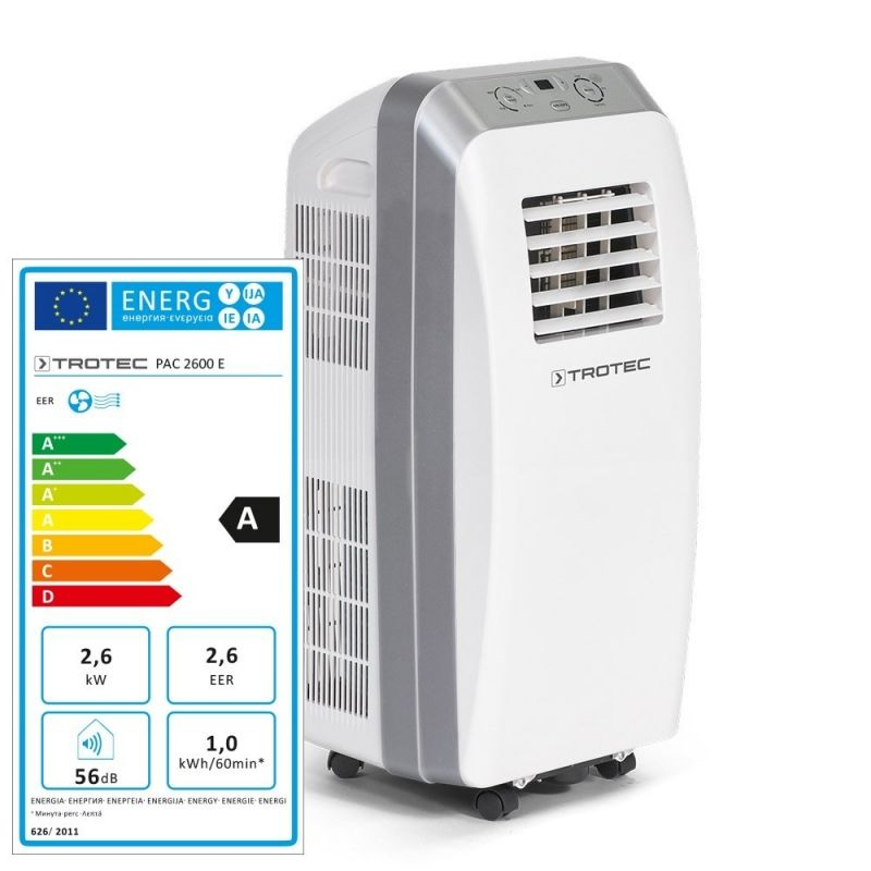 Aer conditionat portabil Trotec PAC 2600E, Capacitate 9.000 Btu, Debit 230mc/ora, Telecomanda, Display, Timer, Pentru 32mp