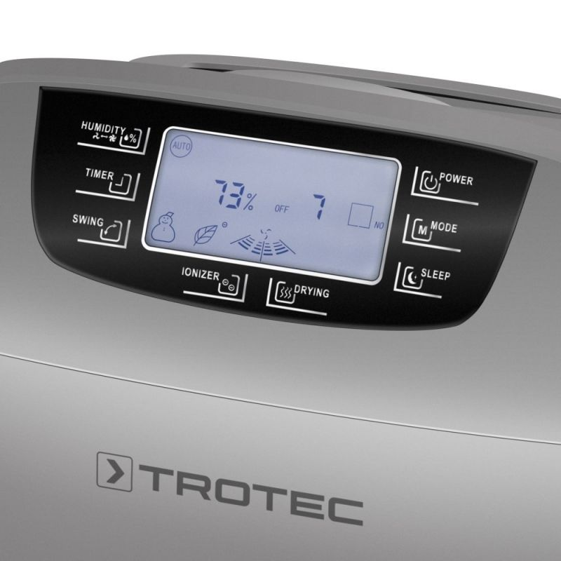 Dezumidificator si purificator Trotec TTK110 HEPA, 40 litri/24h, Debit 260 m³/h, Pentru 120 mp, Higrostat, Display