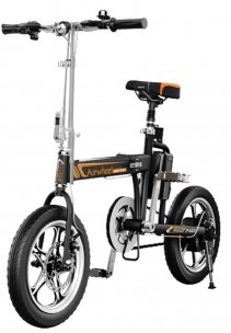 Bicicleta electrica pliabila Airwheel R5 Black, Viteza max. 20km/h, Putere motor 235W, Baterie Panasonic 214.6Wh/36V