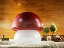 Resigilat! Umidificator Duux Mushroom Rosu, Rata umidificare 220 ml/ora, Consum 20W/h, Debit aer 30 mc/h, Veioza