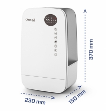 Umidificator si purificator Clean Air Optima CA607W, Lampa UV-C, Ionizare, Difuzor aroma, Display, Timer