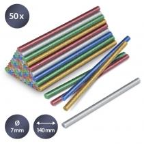 Set batoane cu sclipici de lipici fierbinte Trotec, 50 bucati, Ø 7 mm